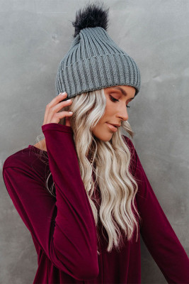 Gray Pom Knitted Winter Beanie