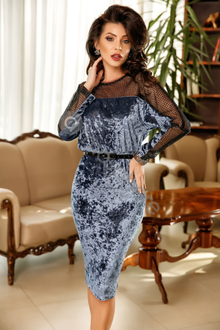 Blue Velvet Stitching Lace Midi Dress
