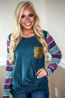 Blue Sequin Splicing Colorful Stripes Long Sleeve Top