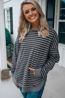 Gray Striped Sweatshirt with Slits
