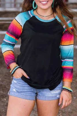 Black Colorful Serape Striped Long Sleeve Top