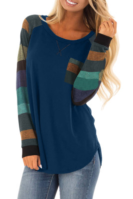 Blue Color Block Striped Pocket Long Sleeve Top