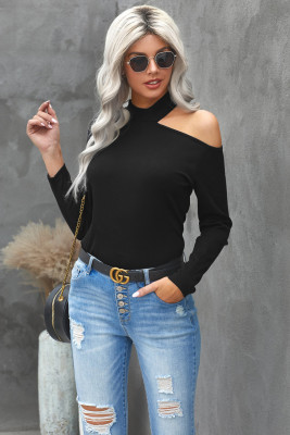 Black Cold Shoulder Solid Color Ribbed Texture Long Sleeve Top