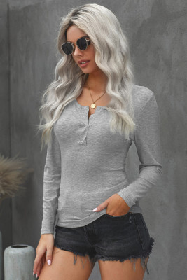 Gray Scoop Neck Buttoned Front Long Sleeve Knitted Top