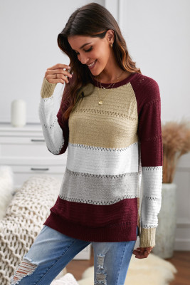 Wine Accent Knitted Color Block Long Sleeve Crew Neck Sweater