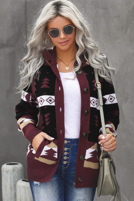 Wine Retro Jacquard Pattern Buttoned Front Hooded Sweater