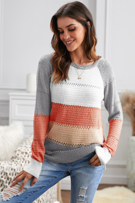 Gray Accent Knitted Color Block Long Sleeve Crew Neck Sweater