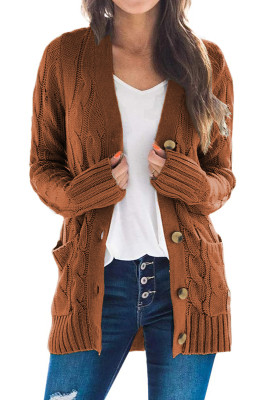 Brown Button Pocket Knit Cardigan