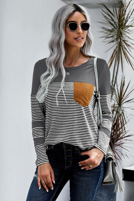 Gray Pinstripe Patch Pocket Long Sleeve Top