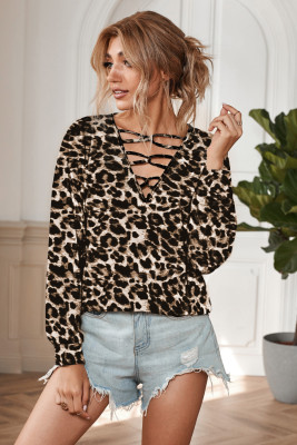 Hollow-out V Neck Leopard Long Sleeve Top
