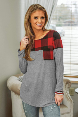 Red Buffalo Plaid Splicing Long Sleeve Top