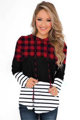 Red Plaid Striped Splicing Color Block Drawstring Hoodie