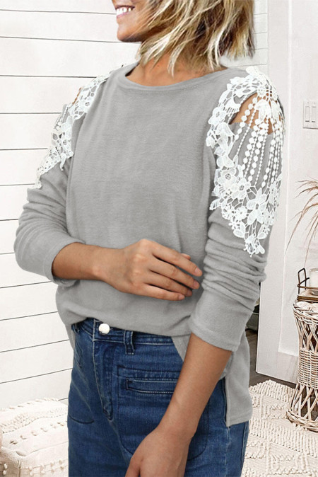 Lace Splicing Hollow Out Long Sleeve Top