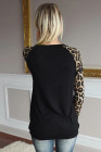 Leopard Round Neck Sequin Long Sleeve Top