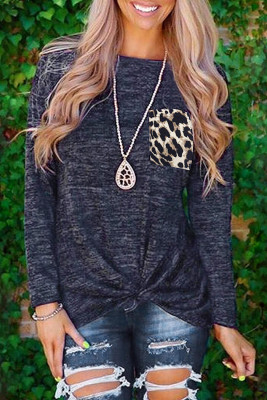 Leopard Pocket Splicing Twist Long Sleeve Top