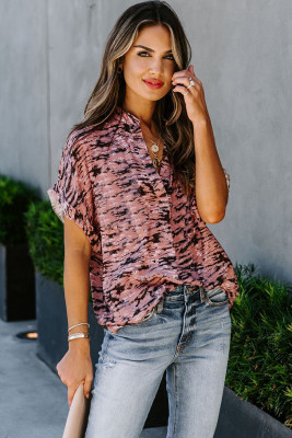 Pink Short Sleeve Toss and Tumble Printed Pocket Shirt