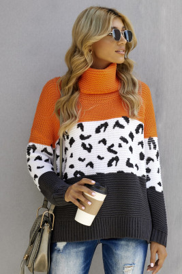 Orange Turtleneck Splicing Chunky Knit Pullover Sweater