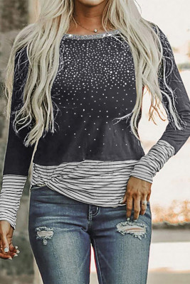 Gray Rhinestone Beading Striped Patchwork Long Sleeve Top