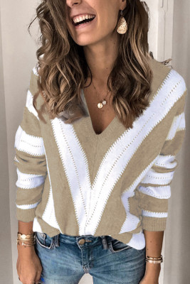 Khaki Striped Colorblock V Neck Knitted Sweater