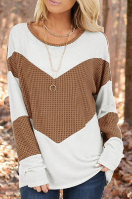 Brown Accent Waffle Knit Long Sleeve Top