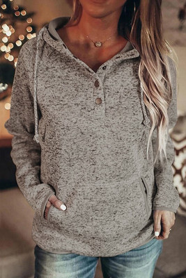 Heathered Print Button Snap Neck Pullover Hoodie