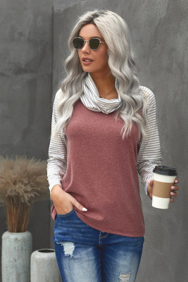 Gray Cowl Neck Stripe Splice Casual Long Sleeve Top