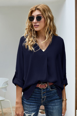 Blue V Neck 3/4 Sleeve High Low Hem Shirt
