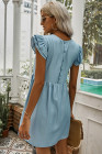 Flutter Sleeve Ruched Denim Casual Dress