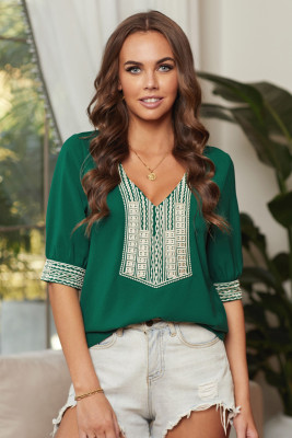 Green Deep V-neck Half Sleeve Embroidery Patch Blouse