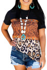 Black Leopard Print Buckstitch Splicing Color Block T-shirt