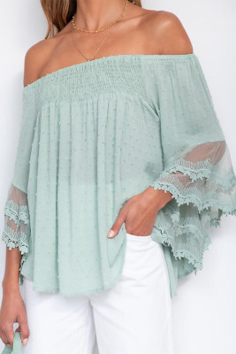Green Jacquard Off Shoulder Lace Splicing Flared Sleeve Top