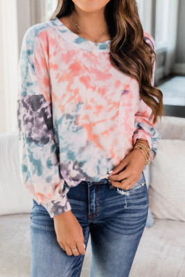 Orange Tie Dye Long Sleeve Top