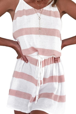Pink Striped Drawstring Spaghetti Straps Mini Dress