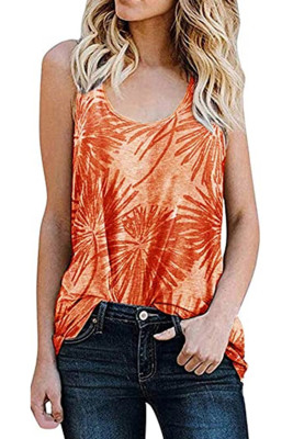 Orange Plants Print Sleeveless Tank Top