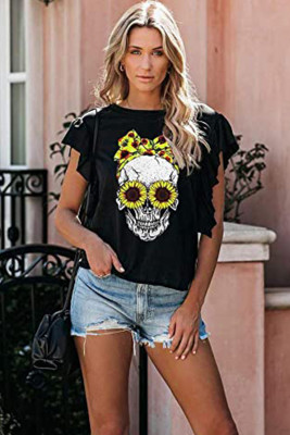 Steer Skull Print Short Sleeve T-shirt