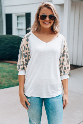 Gray Leopard Sleeve Top